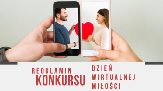 Para patrząca na siebie z ekranów i napis Regulamin konkursu Dzień Wirtualnej Miłości